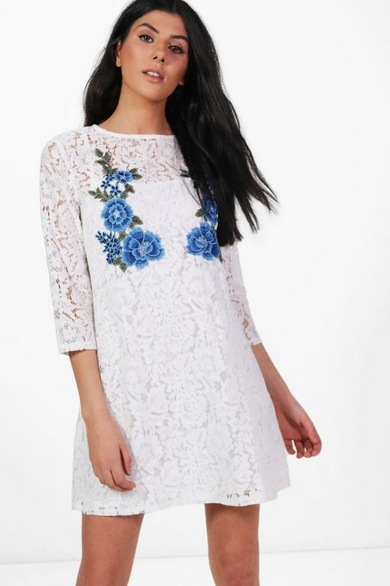 Millie Lace Embroidered Shift Dress