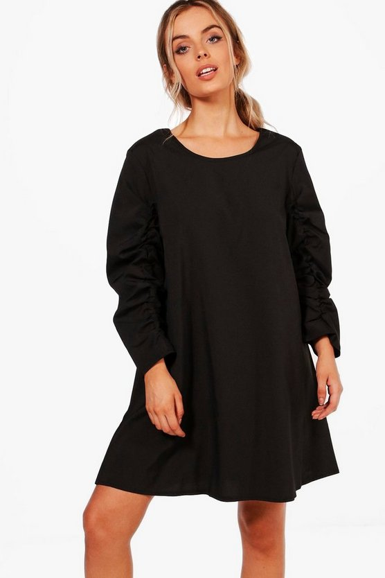 Ruched Sleeve Shift Dress