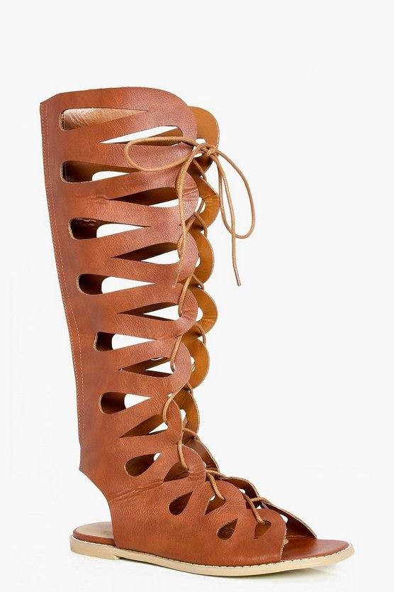 Lydia Ghillie Lace Up Gladiator Knee High Sandals