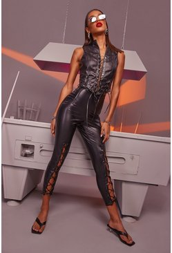 Womens Black Premium Lace Up Front Leather Look Trousers