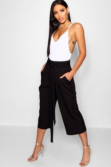 Womens Black Pleated Waist Wide Leg Culottes