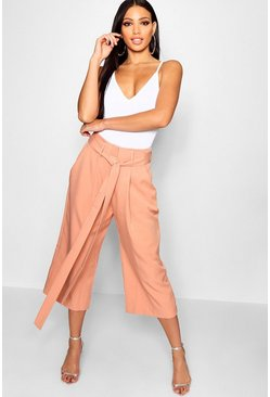 Womens Blush Pleated Waist Wide Leg Culottes