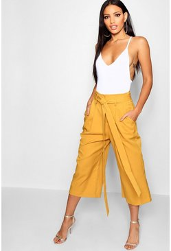 Womens Mustard Pleated Waist Wide Leg Culottes