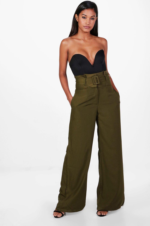 Pantalon large ajusté à ceinture et taille