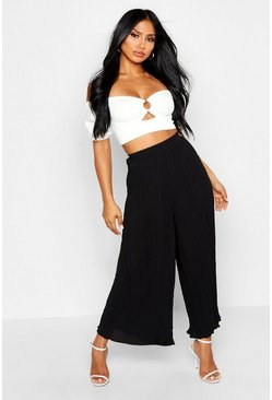 High Waist Pleated Wide Leg Culottes, Black
