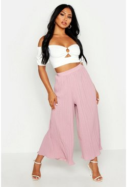 Womens Rose High Waist Pleated Wide Leg Culottes