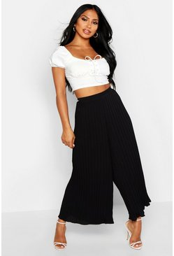 Womens Black High Waist Pleated Wide Leg Culottes