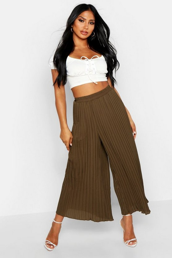 Khaki High Waist Pleated Wide Leg Culottes