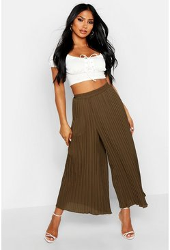 Womens Khaki High Waist Pleated Wide Leg Culottes