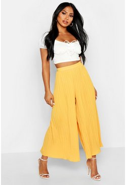 Womens Mustard High Waist Pleated Wide Leg Culottes