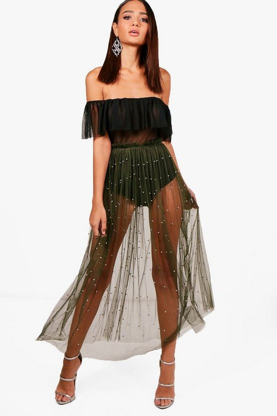 Tulle Beaded Overlay Skirt