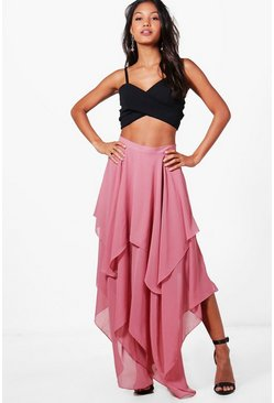 Womens Rose India High Low Hem Maxi Skirt