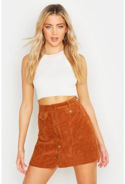 Tan Button Front Chunky Cord Mini Skirt