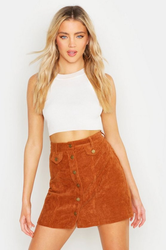 Button Front Chunky Cord Mini Skirt