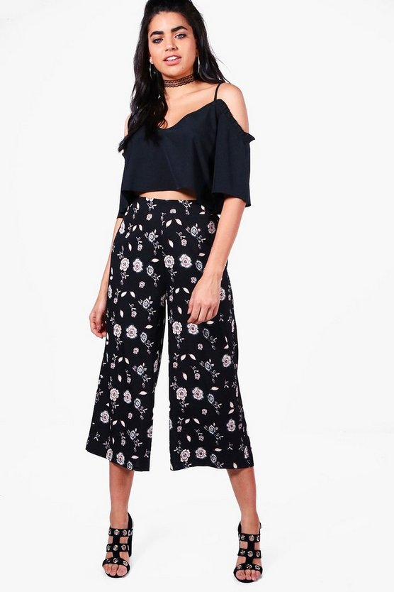 Womens Multi Bella Dark Floral Woven Wide Leg Culottes