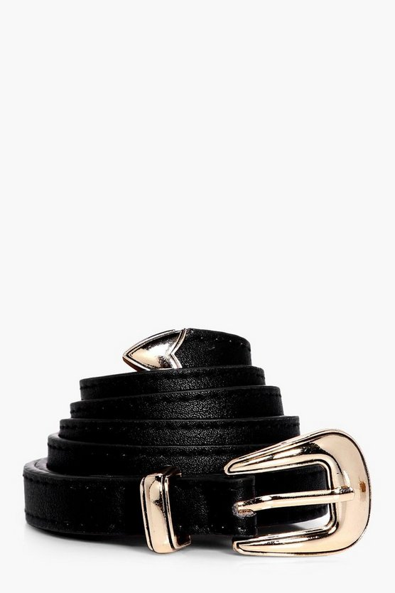 Womens Black Basic Skinny Belt