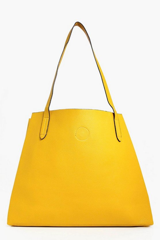 victoria borsa shopper basic con bottoni automatici, Giallo, Femmina