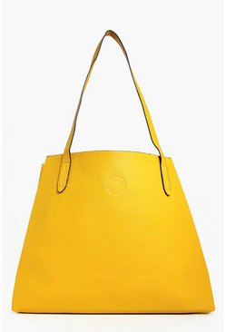 Womens Yellow Victoria Basic Popper Shopper Bag