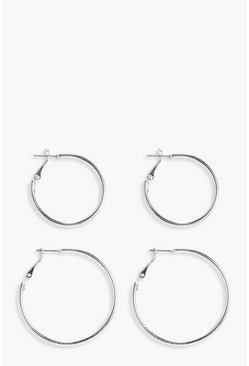 Hoop 2 Pack, Silver, Donna
