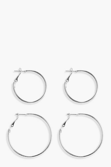 Womens Silver Hoop 2 Pack