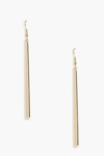 Womens Gold Simple Bar Drop Earrings