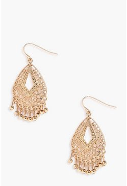 Boho Filigree Beaded Earrings, Gold