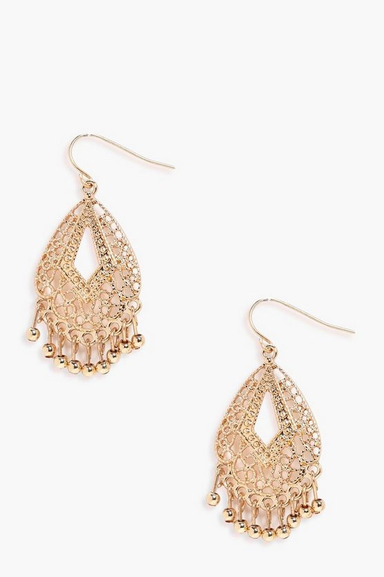 Boho Filigree Beaded Earrings
