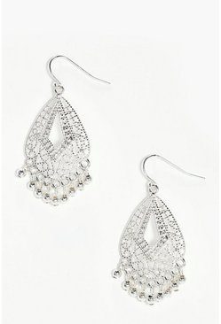 Womens Silver Boho Filigree Beaded Earrings