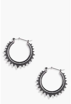 Womens Silver Eastern Boho Earrings
