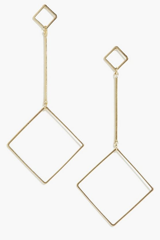 Aimee Drop Square Hoop Earrings