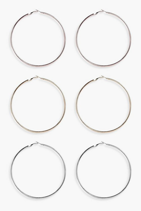 Mixed Metal Hoops 3 Pack
