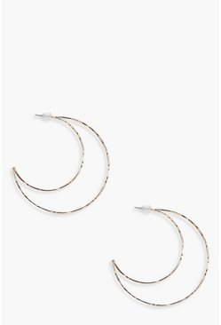 Womens Gold Half Moon Hoop Earrings