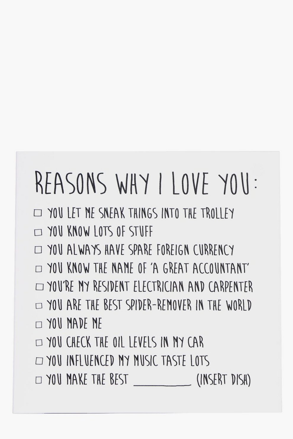 reasons why i love you fathers day card boohoo