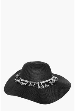 Womens Black Kate Fringe Trim Floppy Hat