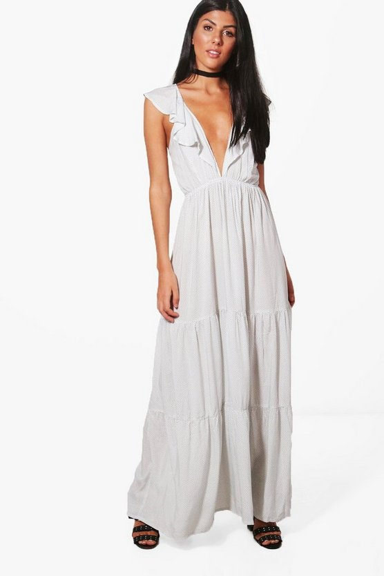 Wrap Front Ruffle Spot Maxi Dress