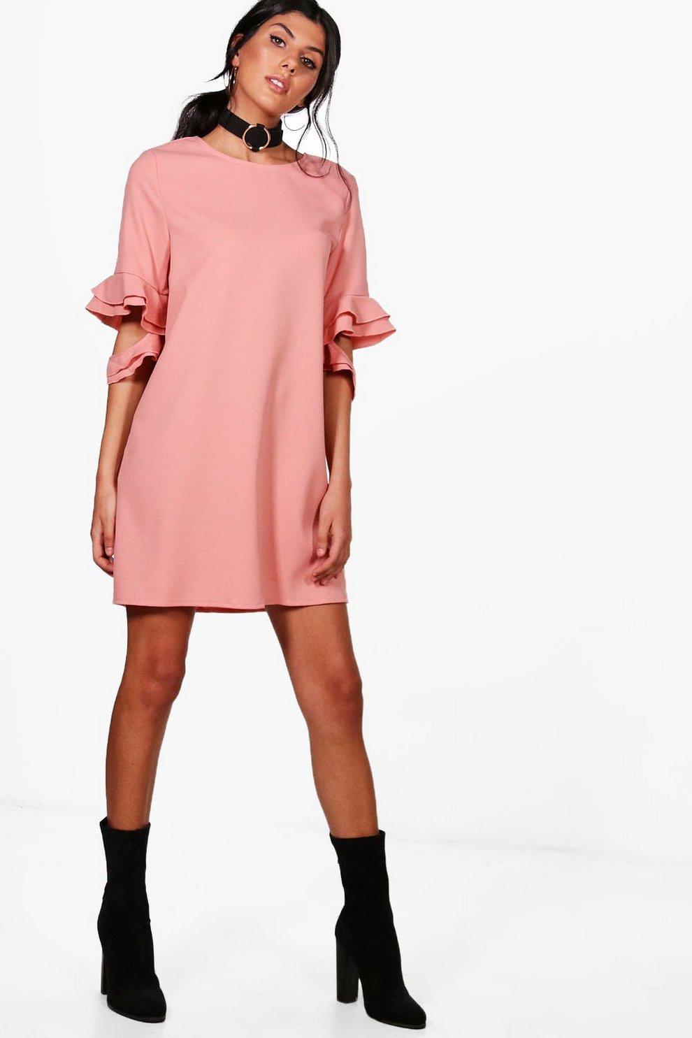 24de60efdebc Esther Ruffle Sleeve Shift Dress | Boohoo
