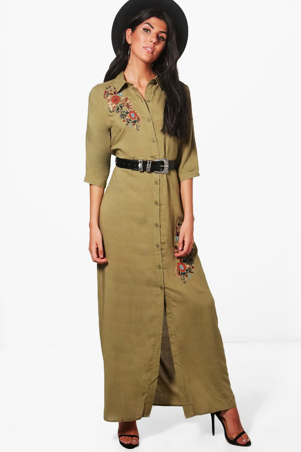 326e5cf0e5af Lucie Embroidered Maxi Shirt Dress | Boohoo