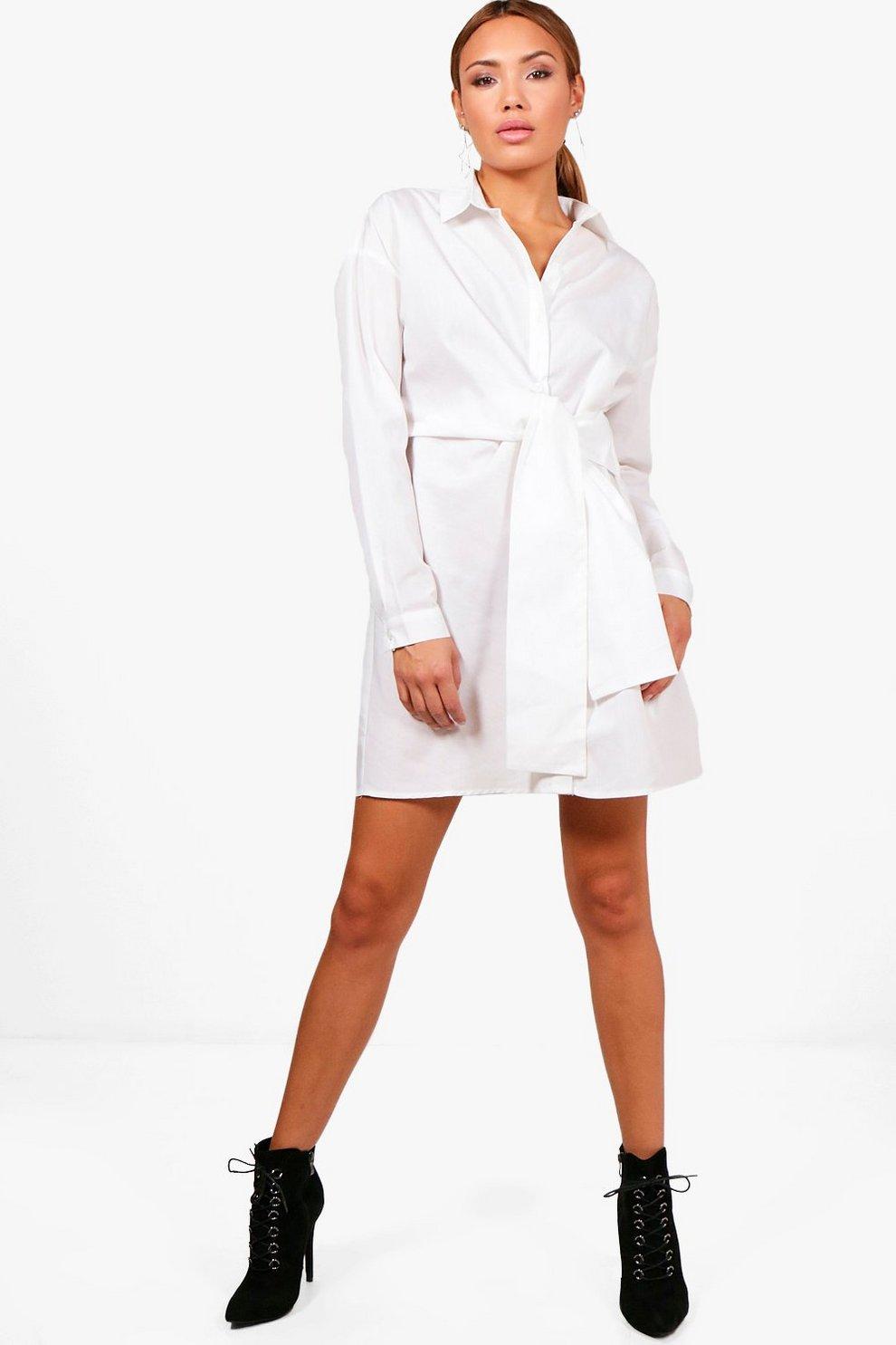 143a7215d56b Tie Waist Shirt Dress   Boohoo