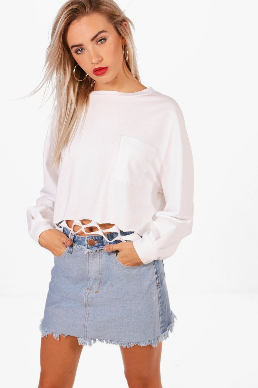 f83ce67d7a Helen Contrast Fray Hem Micro Denim Mini Skirt | Boohoo