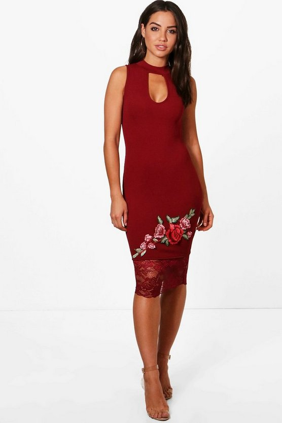 Edith Oriental Embroidered Lace Midi Dress