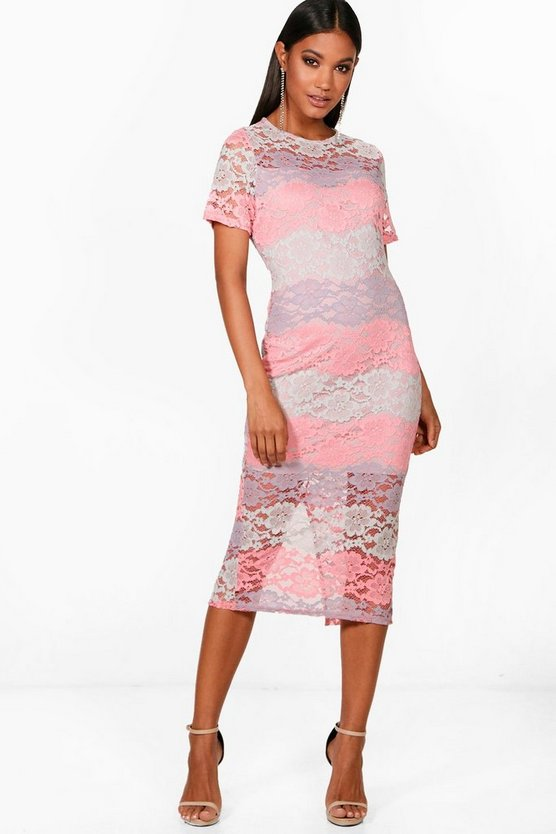Womens Multi Boutique Tori Ombre Lace Midi Dress
