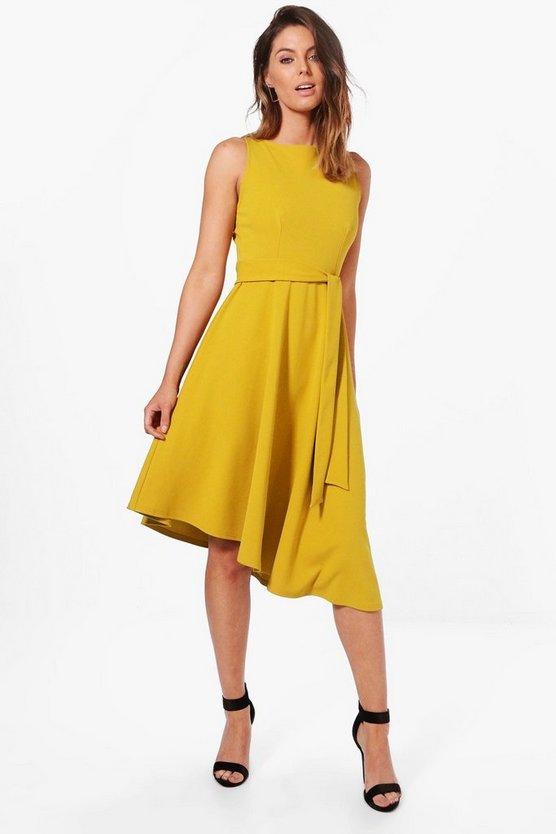 Womens Chartreuse Asymmetric Formal Midi Skater Dress