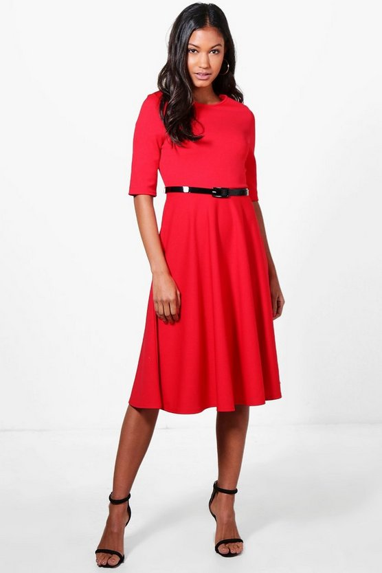 Belted Midi Skater Dress