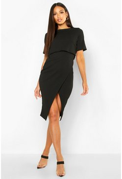 Womens Black Layered Wrap Wiggle Midi Dress