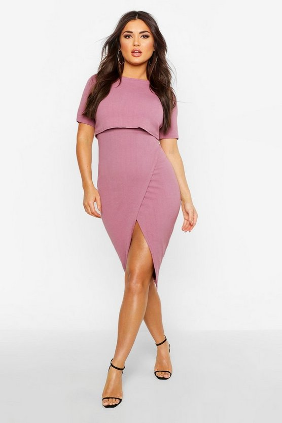 Womens Mauve Layered Wrap Wiggle Midi Dress
