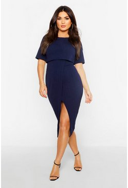 Navy Layered Wrap Wiggle Midi Dress