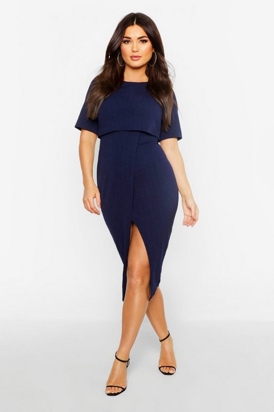 Womens Navy Layered Wrap Wiggle Midi Dress