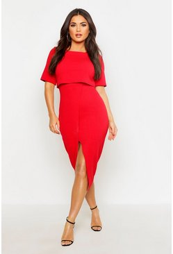 Womens Red Layered Wrap Wiggle Midi Dress