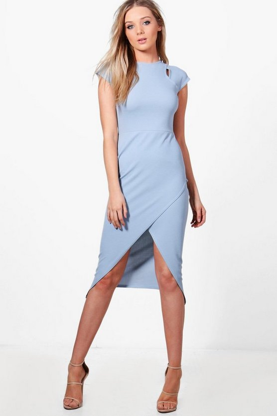 Womens Blue Daisy Formal Cap Sleeve Wrap Midi Dress