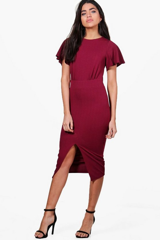 Womens Berry Angel Sleeve Wiggle Midi Dress